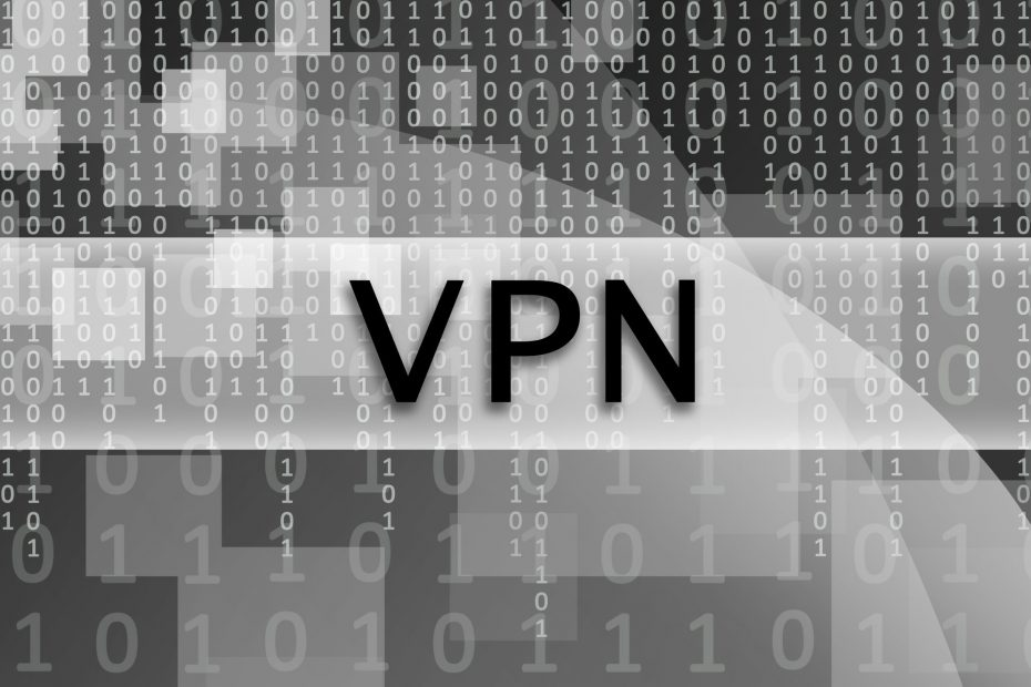 The text inscription VPN is written on a semitransparent field surrounded by a set of abstract